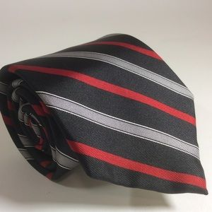 "Yves Saint Laurent red black stripe tie 55x3.25""."